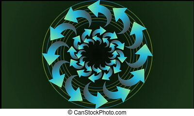 Animated circle shape composed from tree dimensional arrows,...