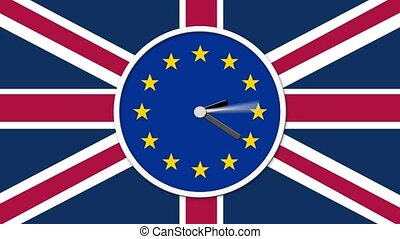 Animated clock counting down. Brexit UK EU referendum...