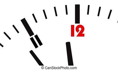 Animated clock. Last seconds to 12 o'clock. UltraHD video