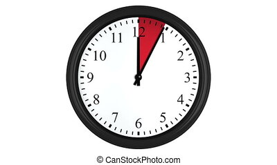 Animated clock with a red interval - Animated wall clock...