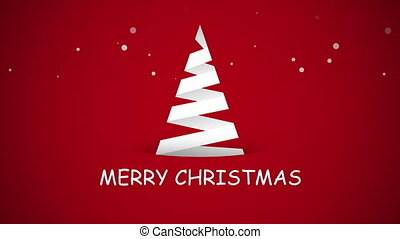 Animated close up Merry Christmas text, white Christmas tree on red background