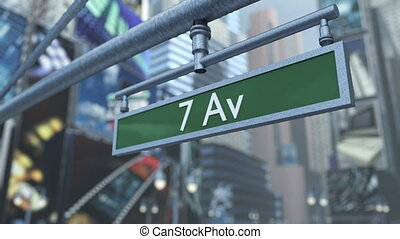 Animated close-up of road sign on Time Square New York...