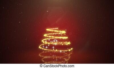 Animated closeup Christmas tree on dark red background