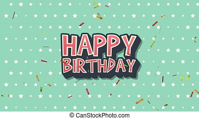 Animated closeup Happy Birthday text on  holiday background...