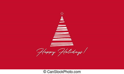 Animated closeup Happy Holidays text, white Christmas tree on red background