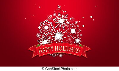 Animated closeup Happy Holidays text, white snowflakes on red background