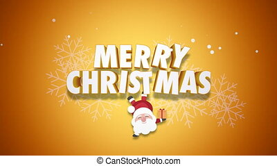 Animated closeup Happy Merry Christmas text and Santa Claus with gift boxes on yellow background