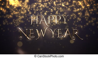 Animated closeup Happy New Year text, gold particles on blue background