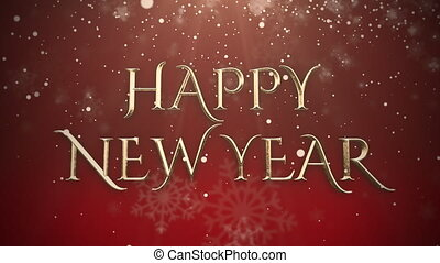 Animated closeup Happy New Year text, gold particles on red background