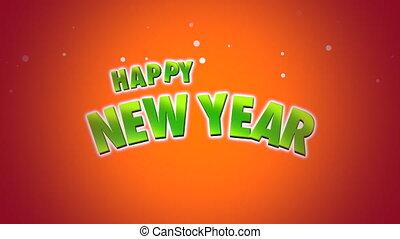 Animated closeup Happy New Year text on orange background