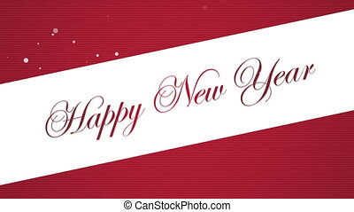Animated closeup Happy New Year text on red background