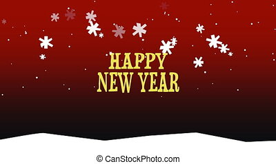 Animated closeup Happy New Year text on snow background