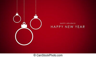 Animated closeup Happy New Year text, white balls on red background
