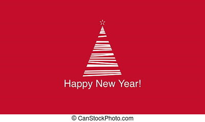 Animated closeup Happy New Year text, white Christmas tree on red background