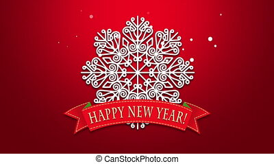 Animated closeup Happy New Year text, white snowflakes on red background