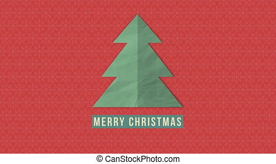 Animated closeup Merry Christmas text, green Christmas tree on red background