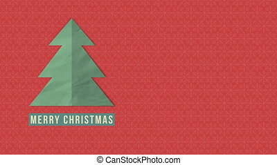 Animated closeup Merry Christmas text, white Christmas tree on red background