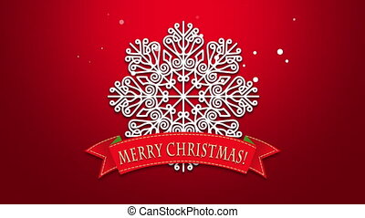 Animated closeup Merry Christmas text, white snowflakes on red background