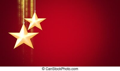 Animated closeup motion gold Christmas stars on red background