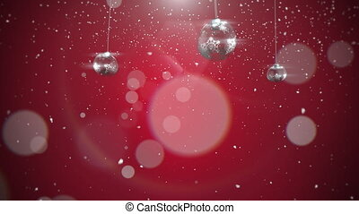 Animated closeup motion silver balls and snowflakes on red background