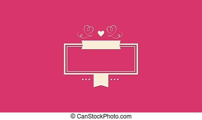 Animated closeup romantic beige hearts with frame on pink Valentines day background