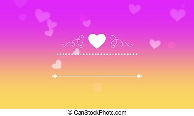 Animated closeup romantic purple hearts with frame on Valentines day background.