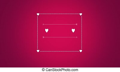 Animated closeup romantic red hearts with arrow and frame on red Valentines day background