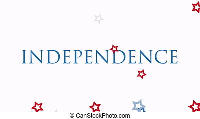 Animated closeup text Independence Day of USA on holiday ...