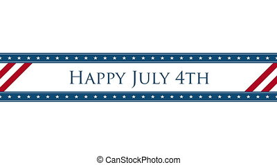 Animated closeup text July 4th on holiday background, ...