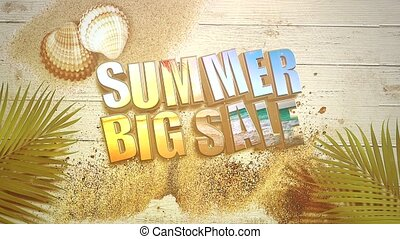 Animated closeup text Summer Big Sale and sandy beach with sandal on seashells, summer background. Elegant and luxury dynamic 80s, 90s retro style animation footage