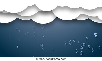 Animated clouds with rain from dollars.
