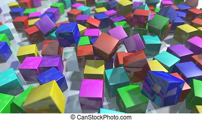 Animated colorful falling cube blocks particles. 3D...