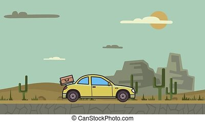 Animated coupe car with luggage on the rear hood riding through canyon desert. Moving hatchback on mountain desert background. Flat animation.