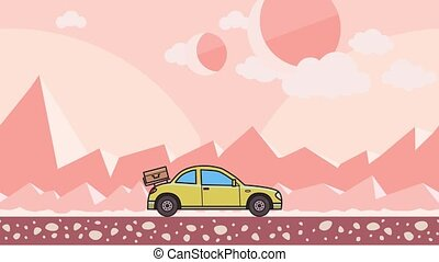 Animated coupe car with luggage on the rear hood riding through extraterrestrial pink desert. Moving hatchback on montain desert background. Flat animation.