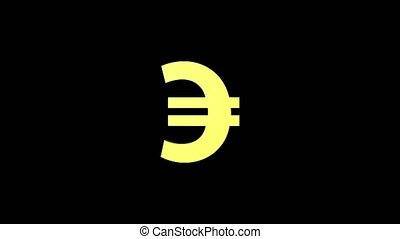 Animated currency golden euro color rotates on a black...
