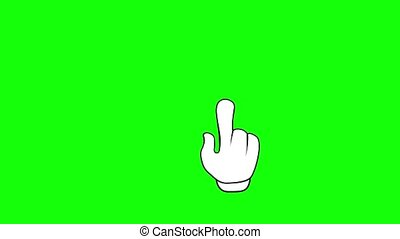 Animated cursor press and hold. Hand gesture animation. Flat icon Mouse click with a green screen. Chroma key