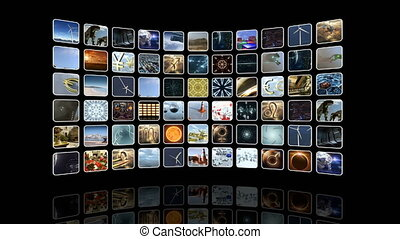 Animated curved video wall with icons. Loop-able. 3D...
