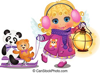 Animated cute little girl with curly blonde hair in winter clothes with angel wings ride on a sled your toys isolated on a white background. Vector cartoon close-up illustration.