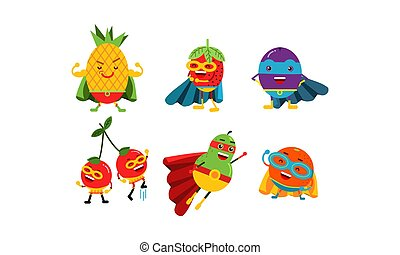 Animated Different Kinds Of Fruits Cartoon Character Vector Illustration