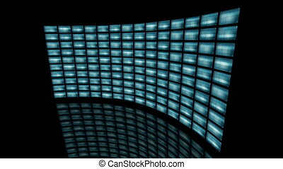 Animated distorted curved video wall turn to right loop...