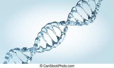 Animated DNA model from drops of water. 3D rendering