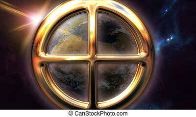 Animated earth zodiac horoscope symbol and planet. 3D...