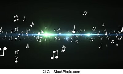 Animated falling 3d music notes. Black bokeh background -...