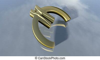 Animated falling shiny Euro money sign. 3d rendering 4K