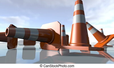 Animated falling traffic cone pilons. 3D rendering 4K