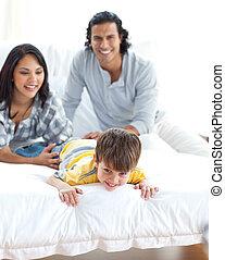 Animated family having fun