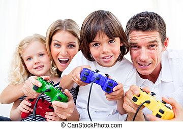 Animated family playing video game against a white...
