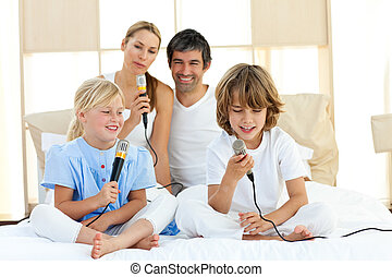 Animated family singing together