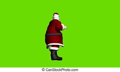 Animated Father Christmas on green background, greeting ...