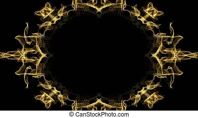 Animated festive golden frame in fractal design, oval borders on black background, festive decoration, copy-space